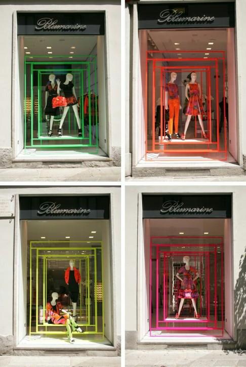 Escaparates de Milán con colores fluor